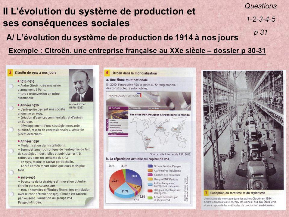 II L'évolution du système de production et ses conséquences sociales