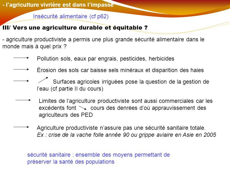 - l'agriculture vivrière est dans l'impasse
