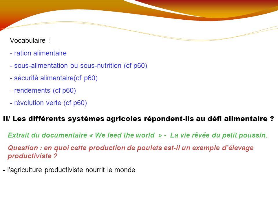 Vocabulaire : ration alimentaire. sous-alimentation ou sous-nutrition (cf p60) sécurité alimentaire(cf p60)