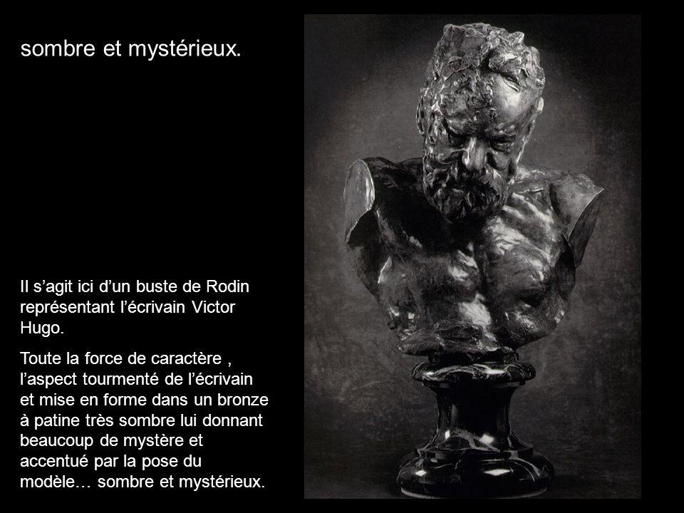sombre et mystérieux. Il s'agit ici d'un buste de Rodin représentant l'écrivain Victor Hugo.