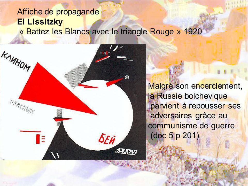 Affiche de propagande El Lissitzky. « Battez les Blancs avec le triangle Rouge » 1920. Malgré son encerclement,