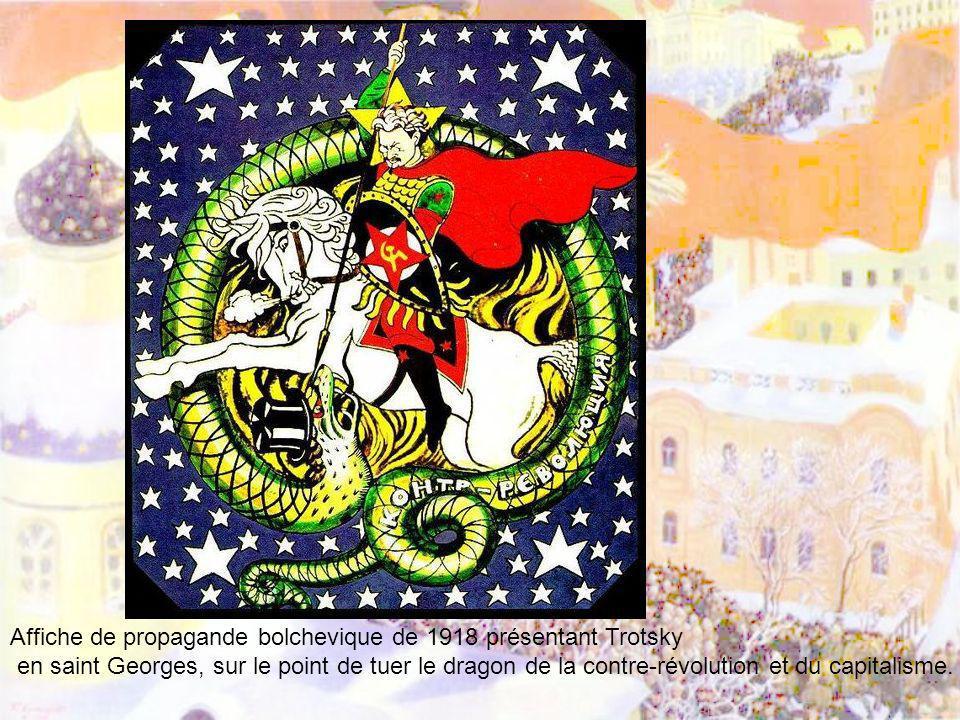 Affiche de propagande bolchevique de 1918 présentant Trotsky