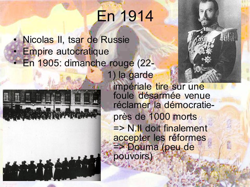 En 1914 Nicolas II, tsar de Russie Empire autocratique