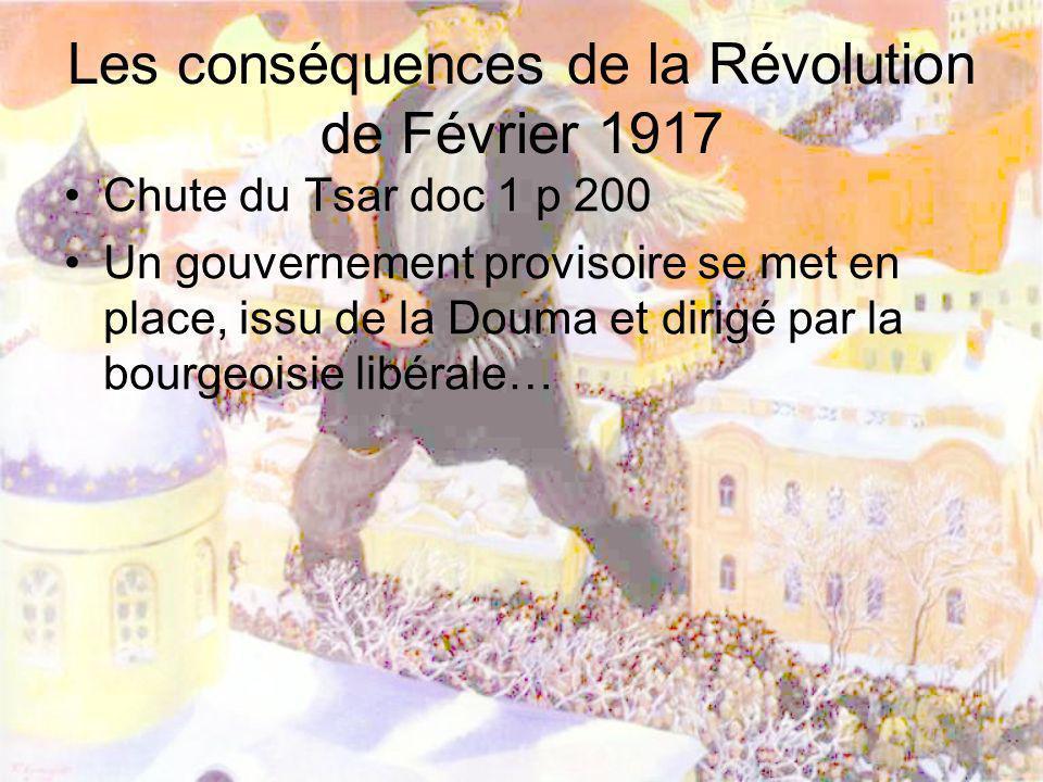 Les conséquences de la Révolution de Février 1917