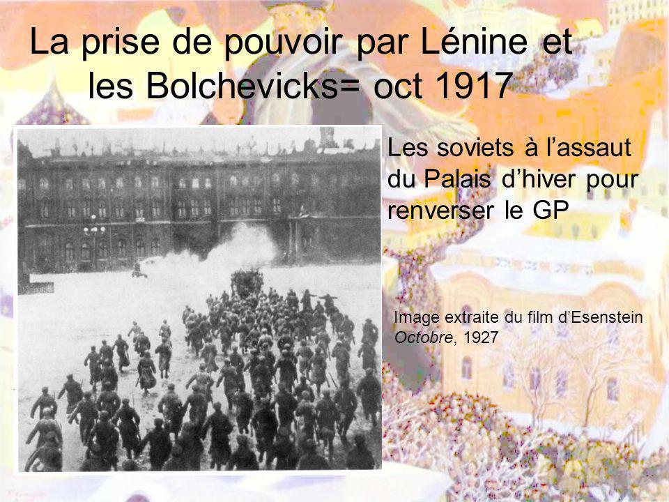 La prise de pouvoir par Lénine et les Bolchevicks= oct 1917