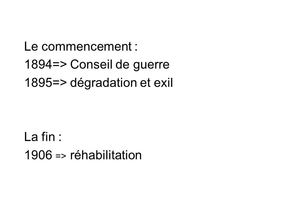 Le commencement : 1894=> Conseil de guerre. 1895=> dégradation et exil.