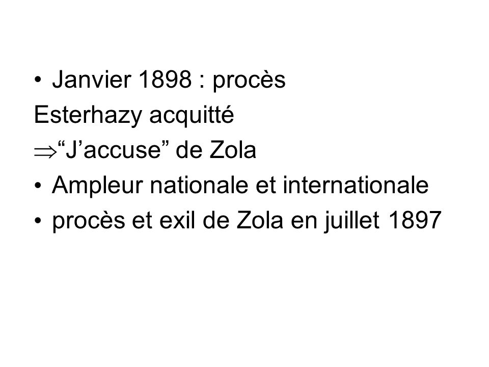 Janvier 1898 : procèsEsterhazy acquitté. J'accuse de Zola.
