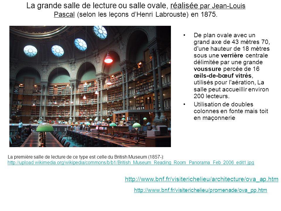La grande salle de lecture ou salle ovale, réalisée par Jean-Louis Pascal (selon les leçons d'Henri Labrouste) en 1875.