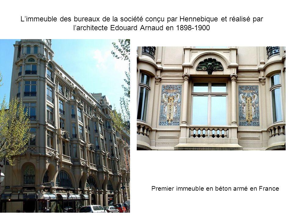L'immeuble des bureaux de la société conçu par Hennebique et réalisé par l'architecte Edouard Arnaud en 1898-1900