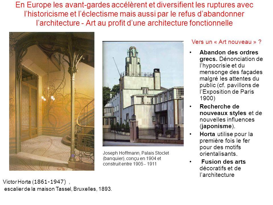 En Europe les avant-gardes accélèrent et diversifient les ruptures avec l'historicisme et l'éclectisme mais aussi par le refus d'abandonner l'architecture - Art au profit d'une architecture fonctionnelle