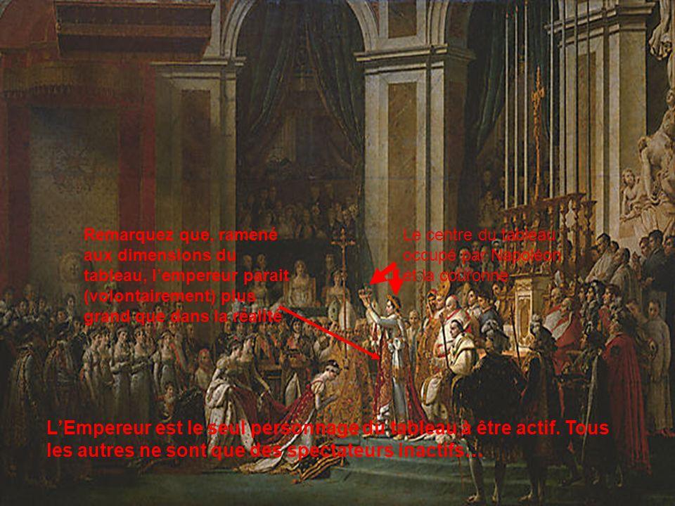 Remarquez que, ramené aux dimensions du tableau, l'empereur parait (volontairement) plus grand que dans la réalité