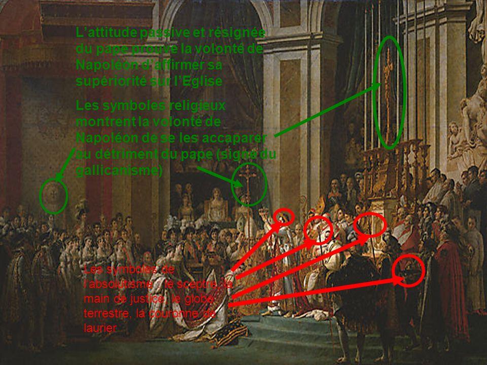 L'attitude passive et résignée du pape prouve la volonté de Napoléon d'affirmer sa supériorité sur l'Eglise
