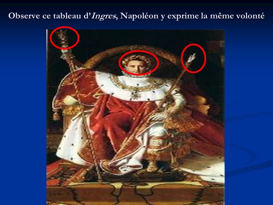 Observe ce tableau d'Ingres, Napoléon y exprime la même volonté