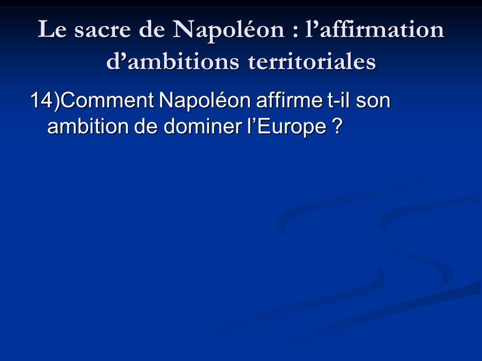 Le sacre de Napoléon : l'affirmation d'ambitions territoriales