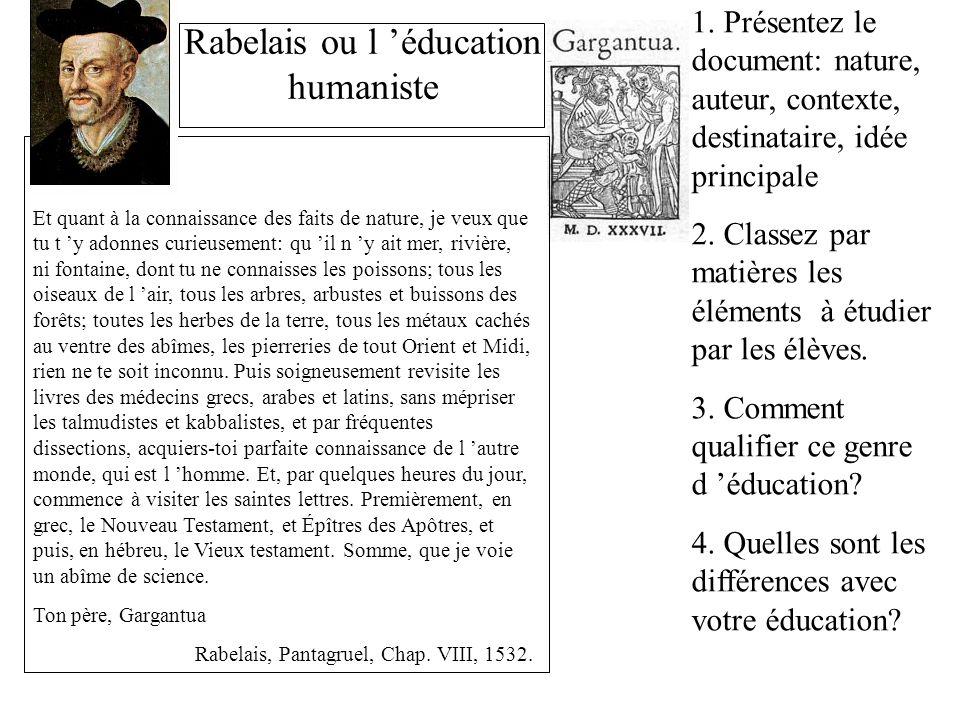 Rabelais ou l 'éducation humaniste