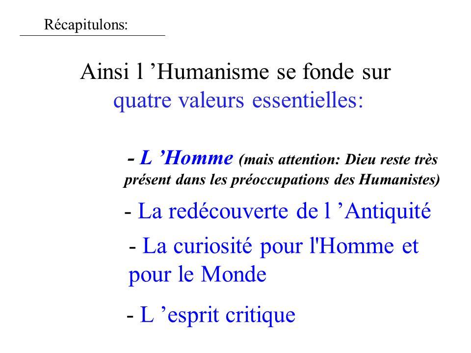 Ainsi l 'Humanisme se fonde sur quatre valeurs essentielles: