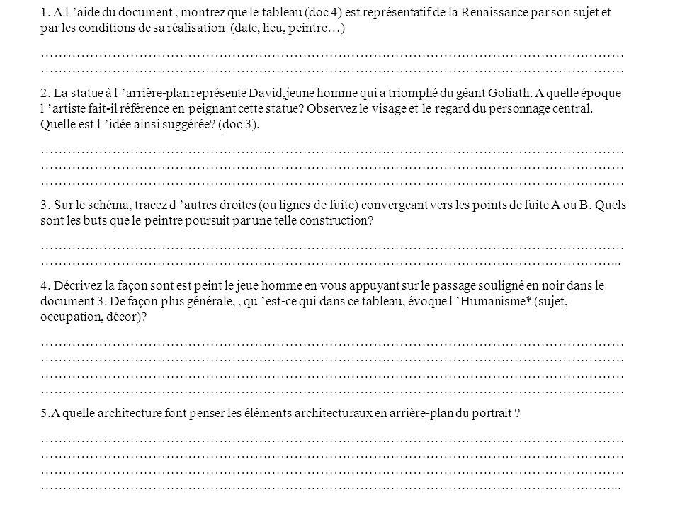 1. A l 'aide du document , montrez que le tableau (doc 4) est représentatif de la Renaissance par son sujet et par les conditions de sa réalisation (date, lieu, peintre…)