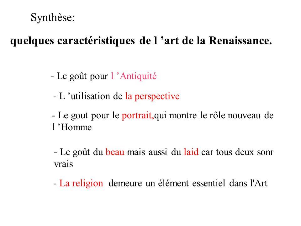 quelques caractéristiques de l 'art de la Renaissance.