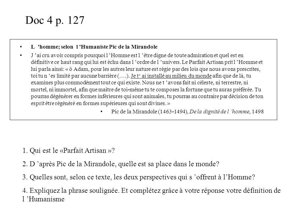 Doc 4 p. 127 1. Qui est le «Parfait Artisan »