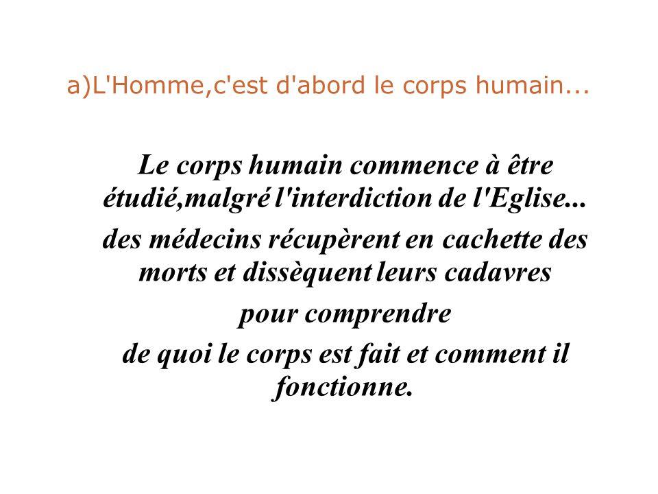 a)L Homme,c est d abord le corps humain...
