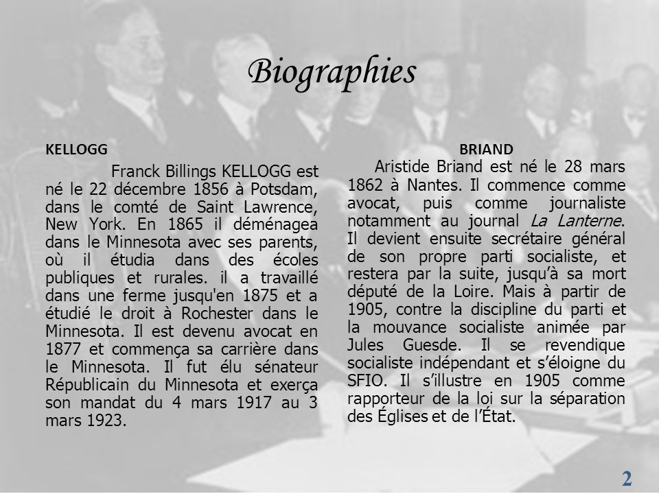 Biographies KELLOGG.