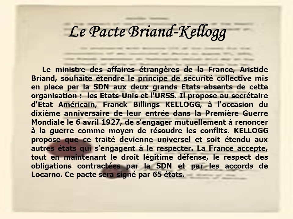 Le Pacte Briand-Kellogg