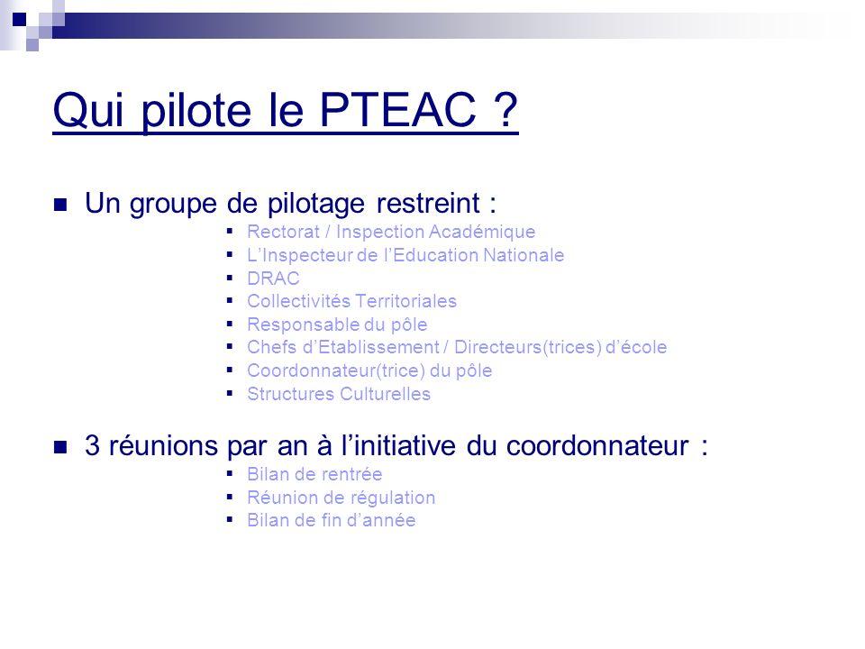 Qui pilote le PTEAC Un groupe de pilotage restreint :