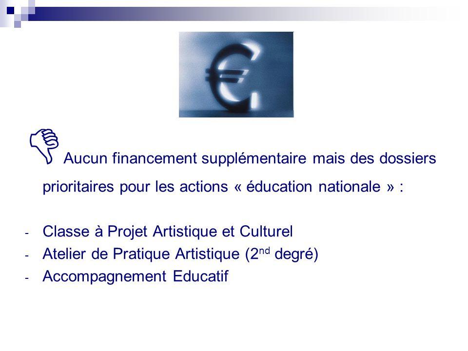 Aucun financement supplémentaire mais des dossiers prioritaires pour les actions « éducation nationale » :