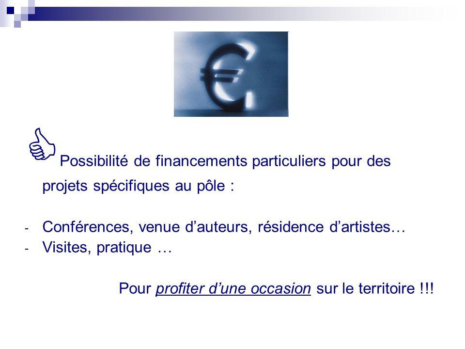 Possibilité de financements particuliers pour des projets spécifiques au pôle :