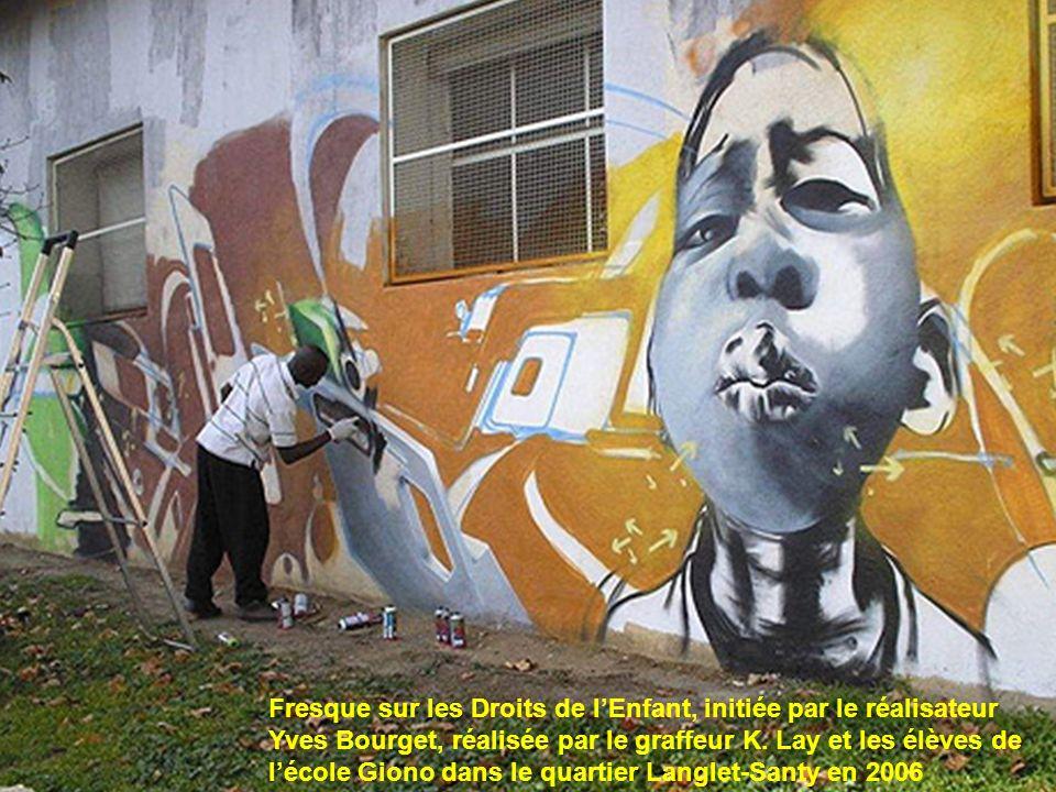 Fresque sur les Droits de l'Enfant, initiée par le réalisateur Yves Bourget, réalisée par le graffeur K.