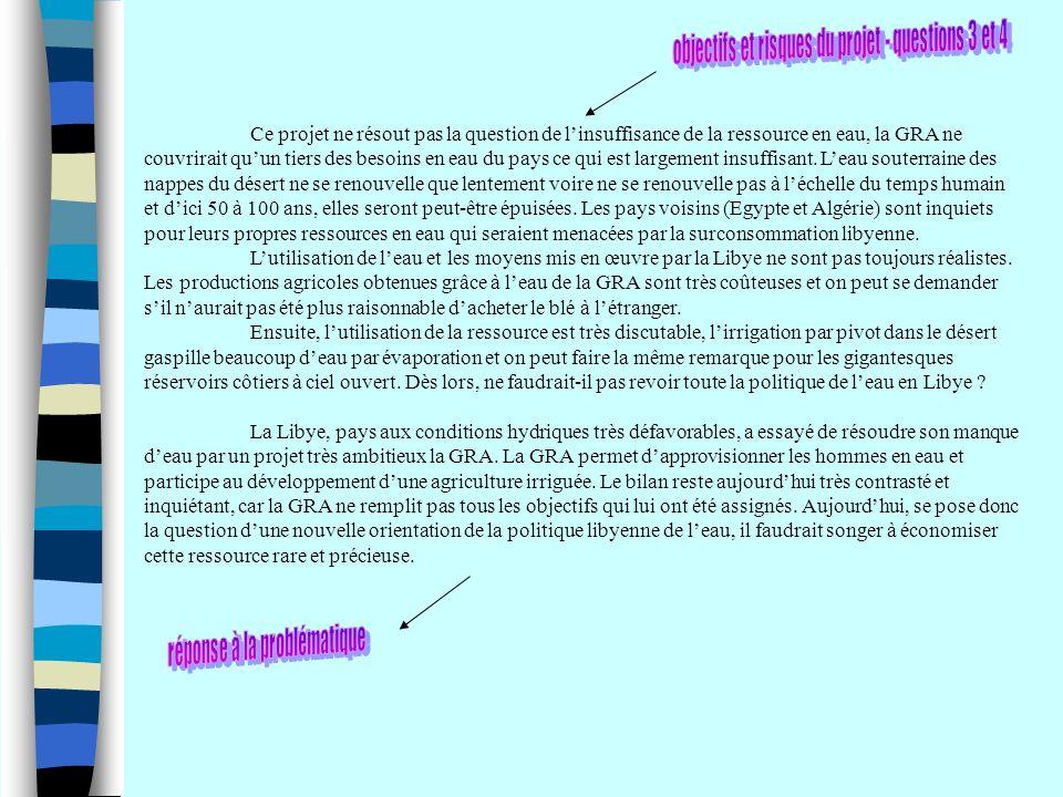 objectifs et risques du projet - questions 3 et 4