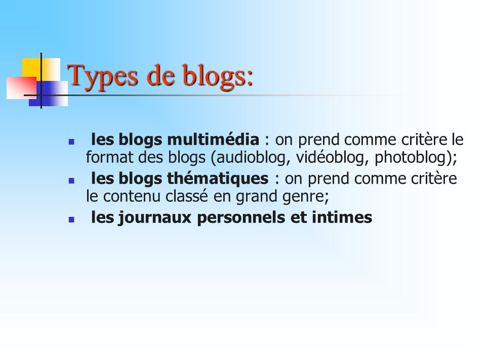 Types de blogs: les blogs multimédia : on prend comme critère le format des blogs (audioblog, vidéoblog, photoblog);