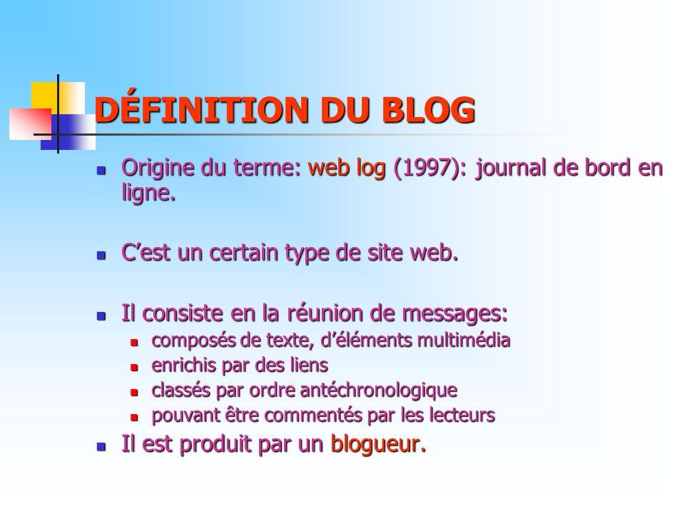 DÉFINITION DU BLOG Origine du terme: web log (1997): journal de bord en ligne. C'est un certain type de site web.