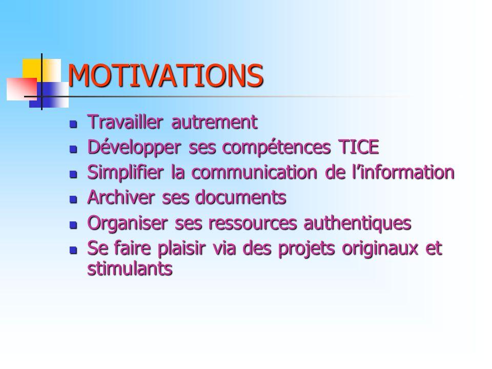 MOTIVATIONS Travailler autrement Développer ses compétences TICE