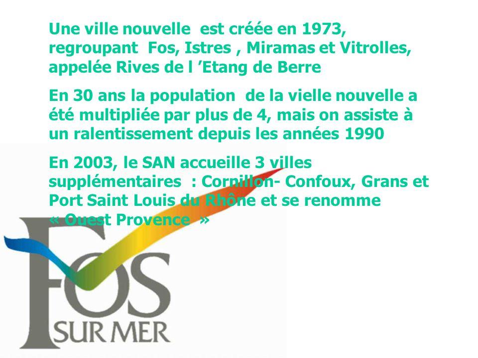 Une ville nouvelle est créée en 1973, regroupant Fos, Istres , Miramas et Vitrolles, appelée Rives de l 'Etang de Berre