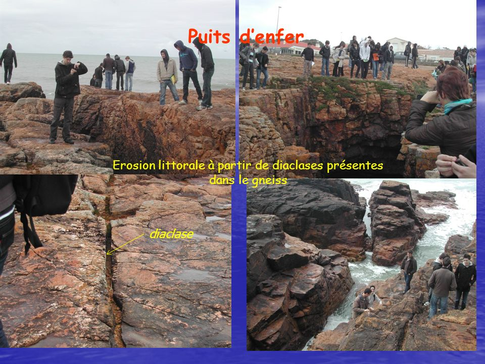 Erosion littorale à partir de diaclases présentes dans le gneiss