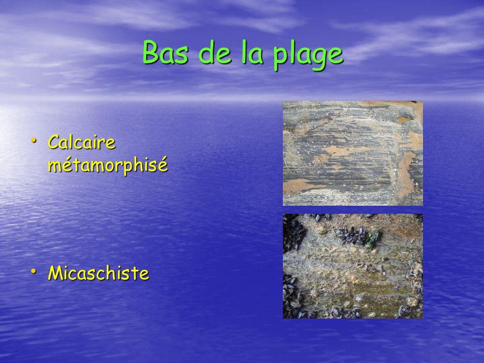 Bas de la plage Calcaire métamorphisé Micaschiste