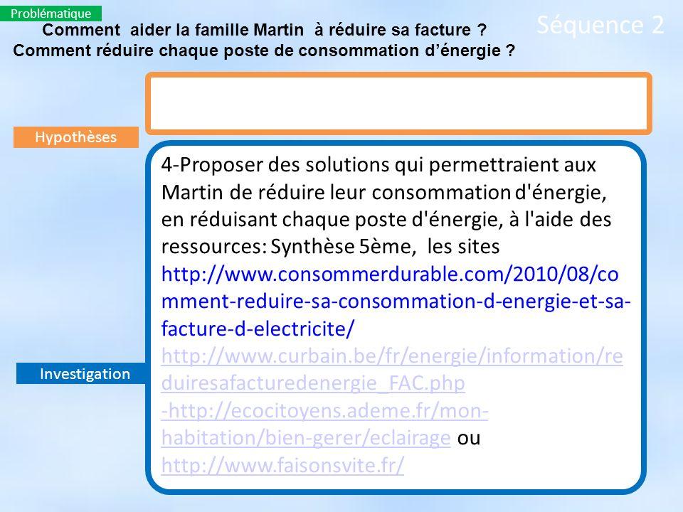 Problématique Séquence 2. Comment aider la famille Martin à réduire sa facture Comment réduire chaque poste de consommation d'énergie
