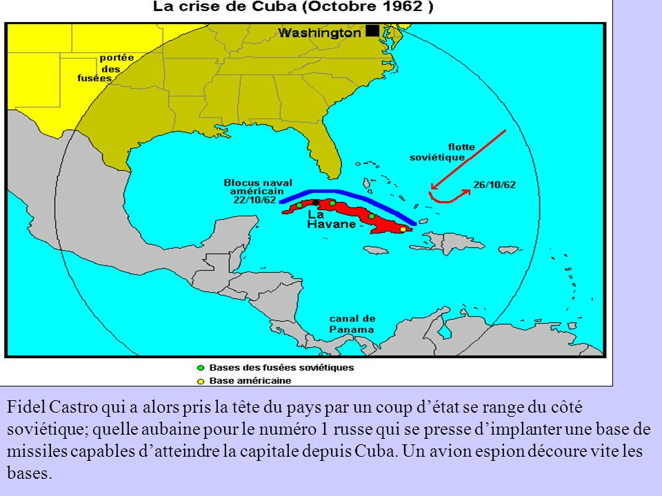 Fidel Castro qui a alors pris la tête du pays par un coup d'état se range du côté soviétique; quelle aubaine pour le numéro 1 russe qui se presse d'implanter une base de missiles capables d'atteindre la capitale depuis Cuba.