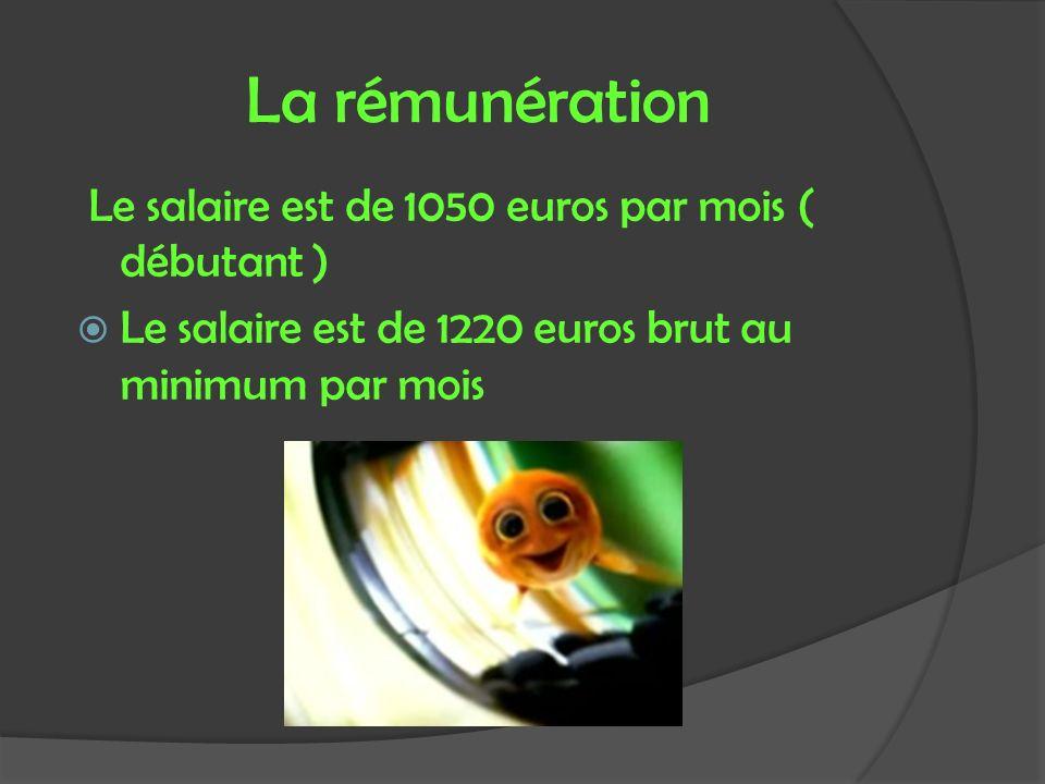 La rémunération Le salaire est de 1050 euros par mois ( débutant )