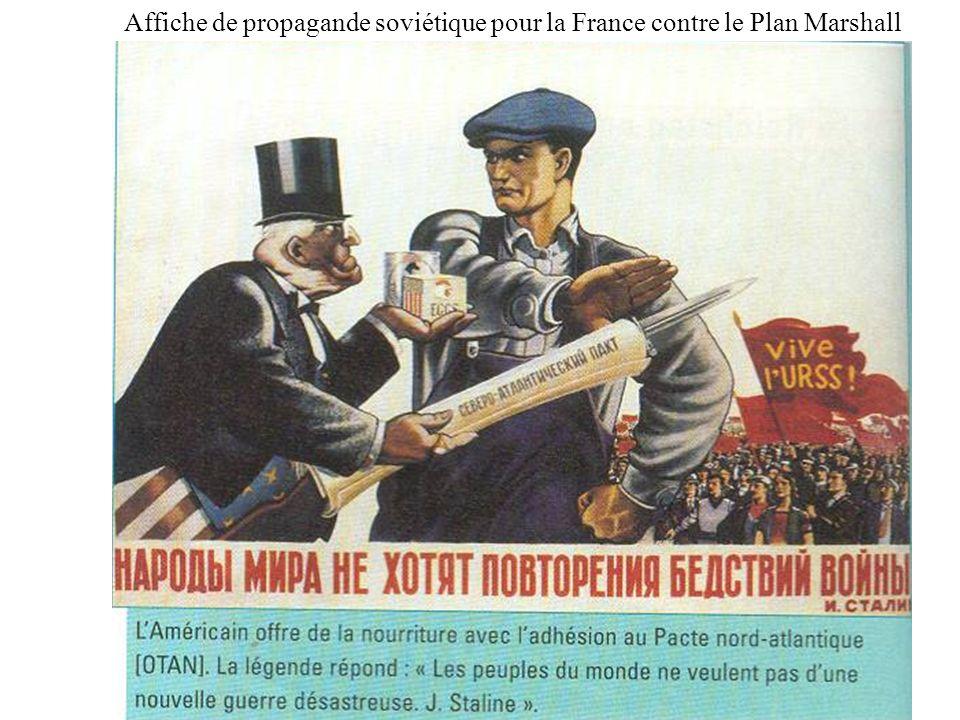 Affiche de propagande soviétique pour la France contre le Plan Marshall