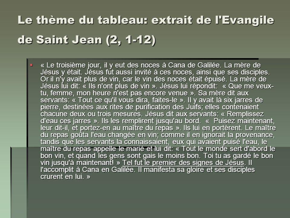Le thème du tableau: extrait de l Evangile de Saint Jean (2, 1-12)