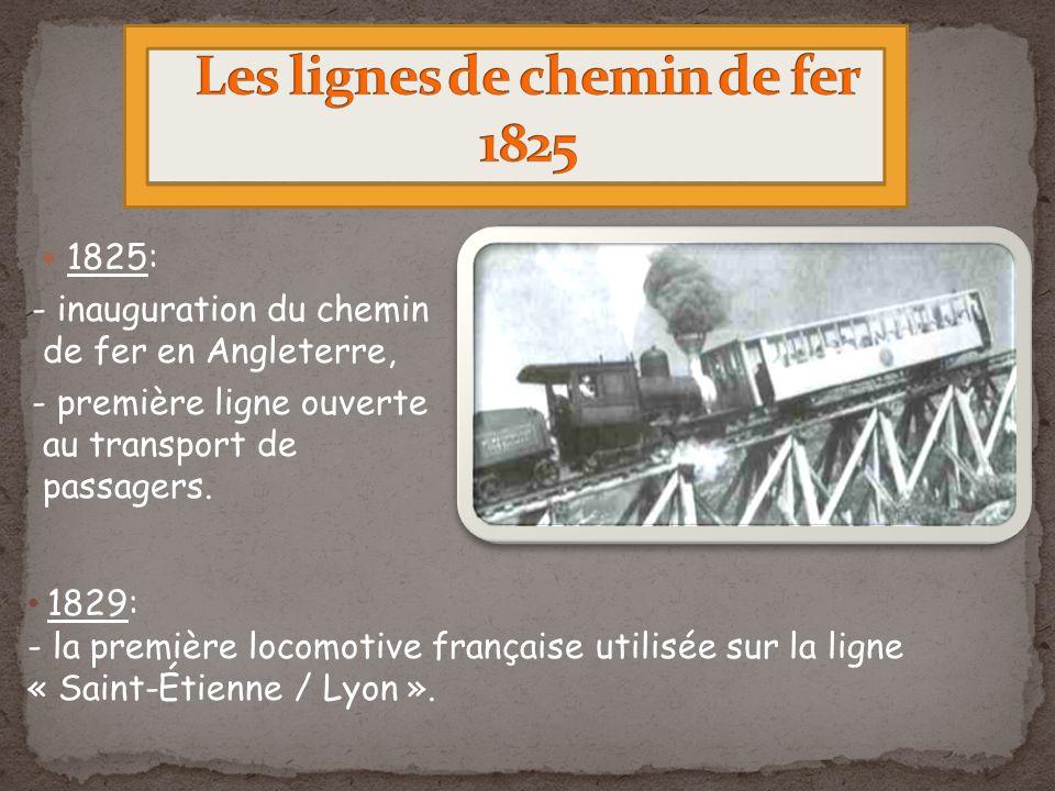 Les lignes de chemin de fer 1825