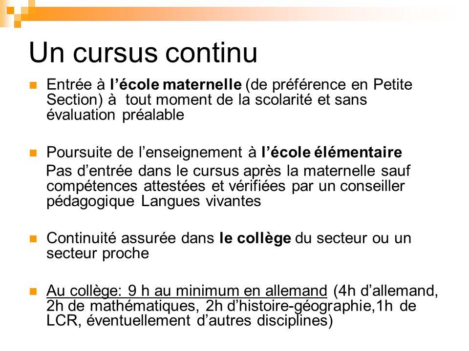 Un cursus continu Entrée à l'école maternelle (de préférence en Petite Section) à tout moment de la scolarité et sans évaluation préalable.