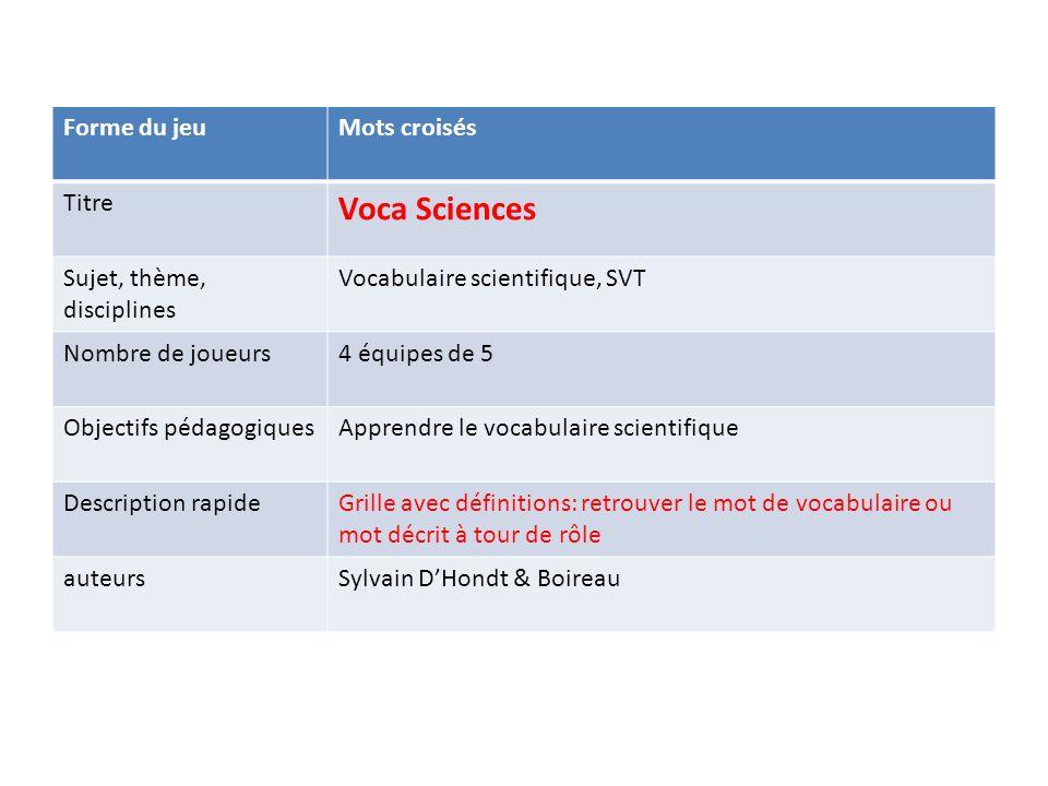 Voca Sciences Forme du jeu Mots croisés Titre