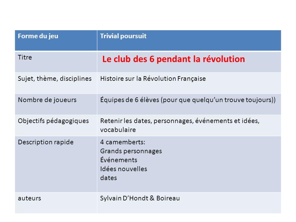 Le club des 6 pendant la révolution