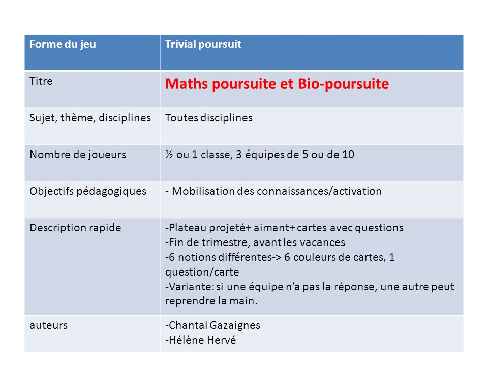 Maths poursuite et Bio-poursuite