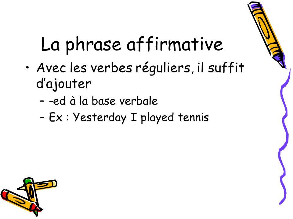 La phrase affirmative Avec les verbes réguliers, il suffit d'ajouter