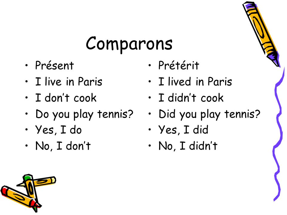 Comparons Présent I live in Paris I don't cook Do you play tennis