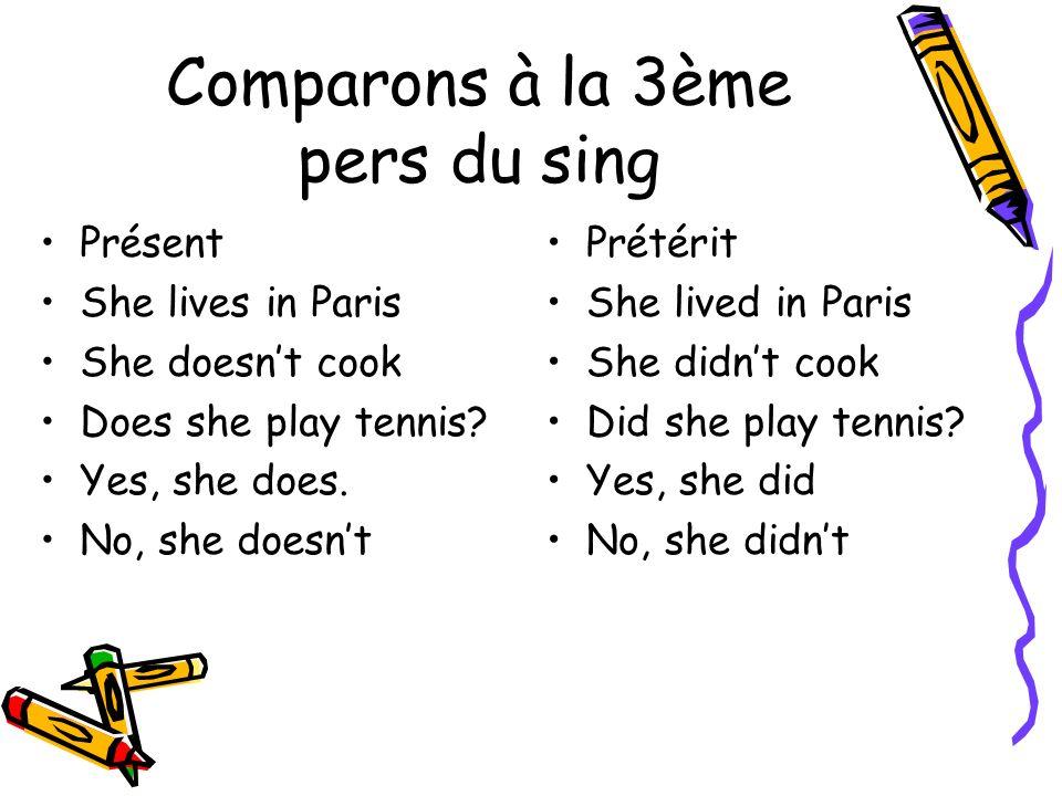 Comparons à la 3ème pers du sing